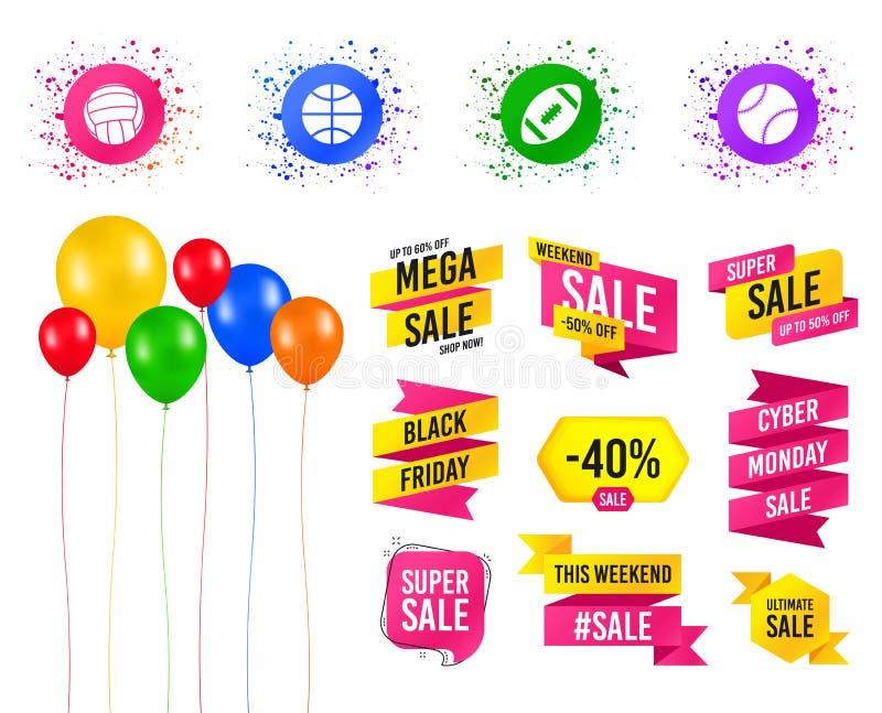 De ballen van de sport Volleyball, Basketbal, Honkbal Vector stock illustratie