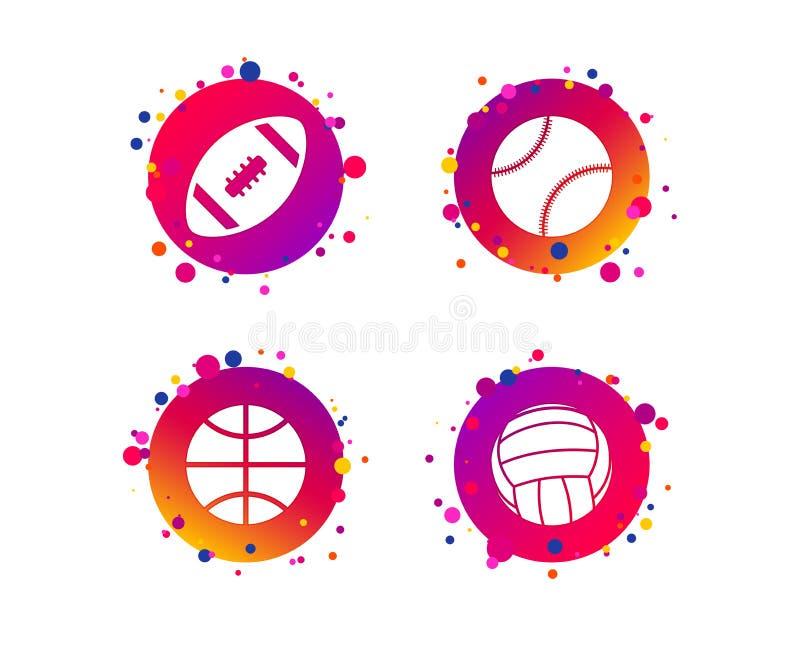 De ballen van de sport Volleyball, Basketbal, Honkbal Vector royalty-vrije illustratie