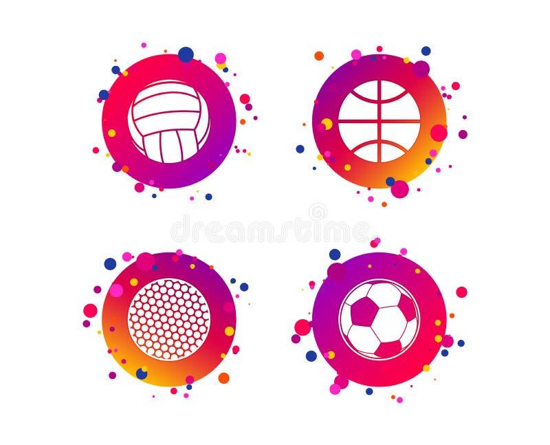 De ballen van de sport Volleyball, Basketbal, Voetbal Vector royalty-vrije illustratie