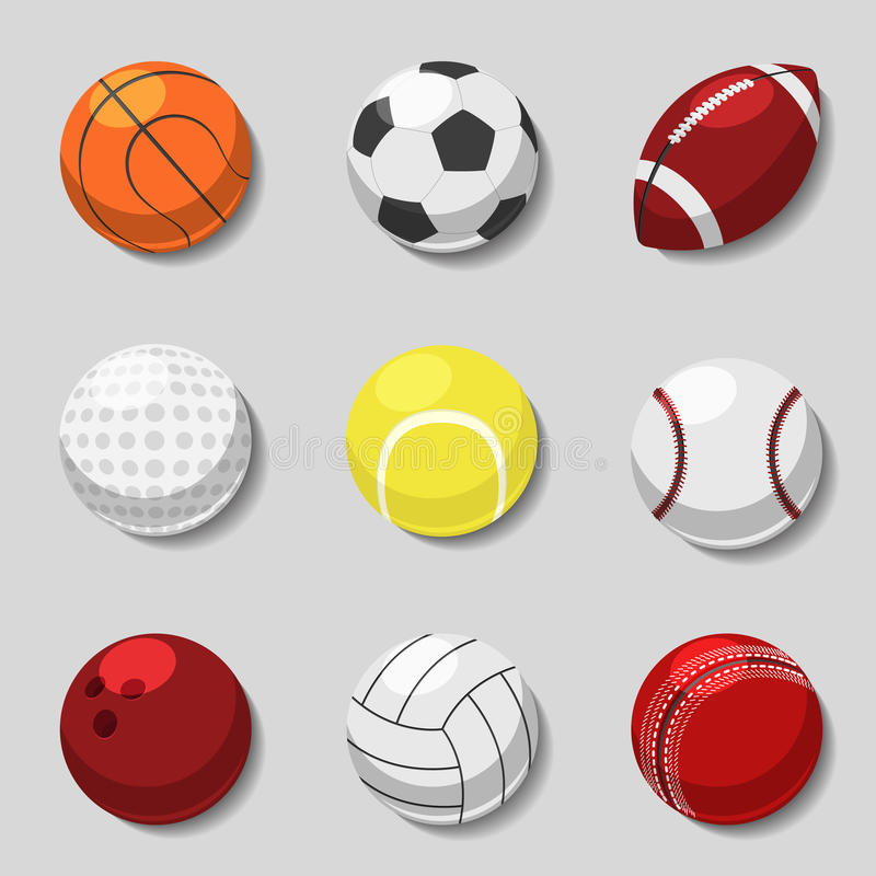 De ballen van sporten Vectordiebeeldverhaalbal voor voetbal en tennis, rugby, basketbal wordt geplaatst vector illustratie