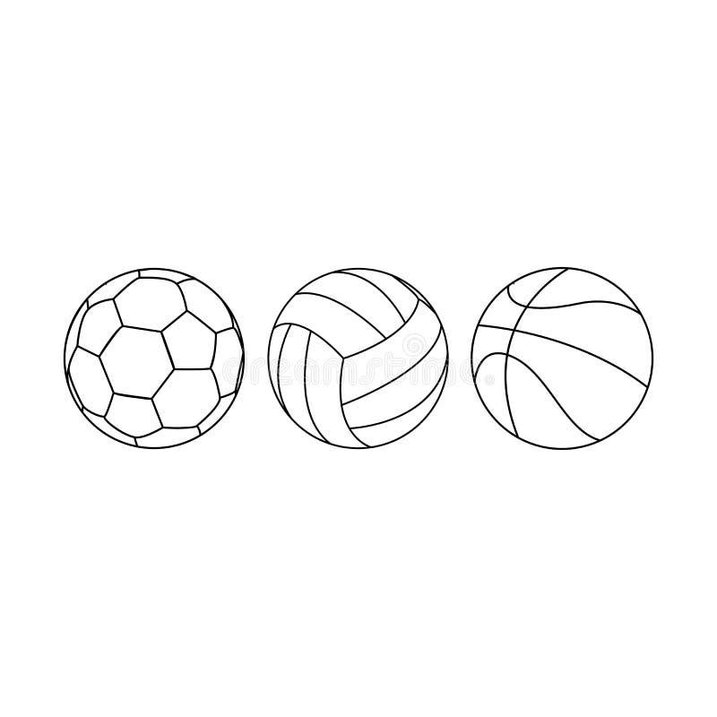 De ballen van sporten Vectordielijnbal voor voetbalbasketbal en volleyball wordt geplaatst Basketbal, volleyball en voetbalballen royalty-vrije illustratie