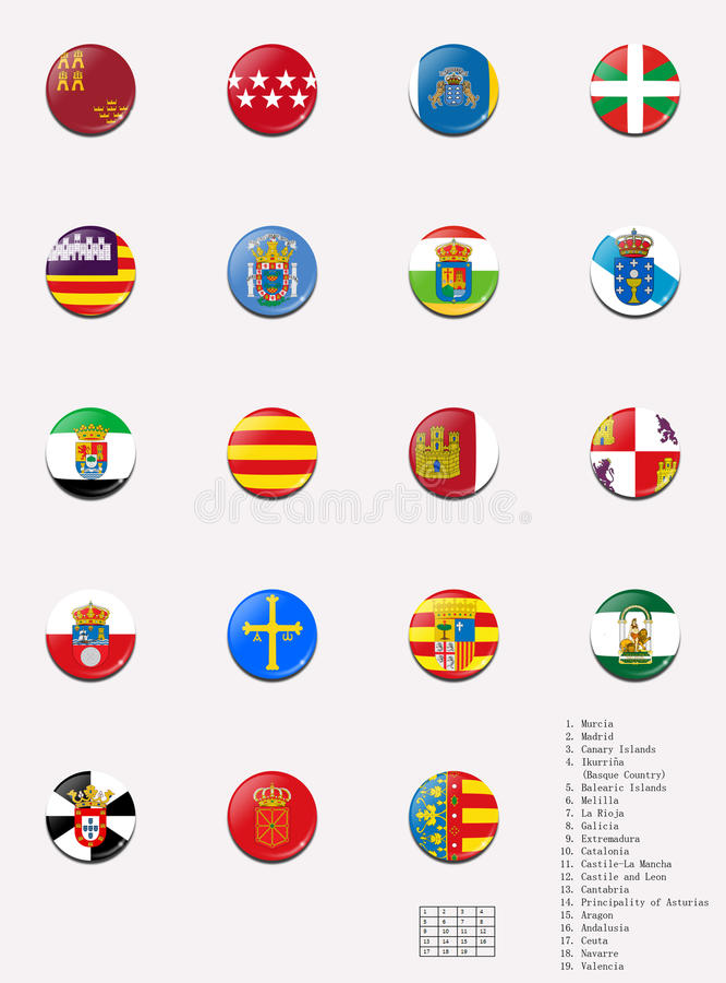De ballen van vlaggen van de Spaanse autonome gemeenschappen stock illustratie