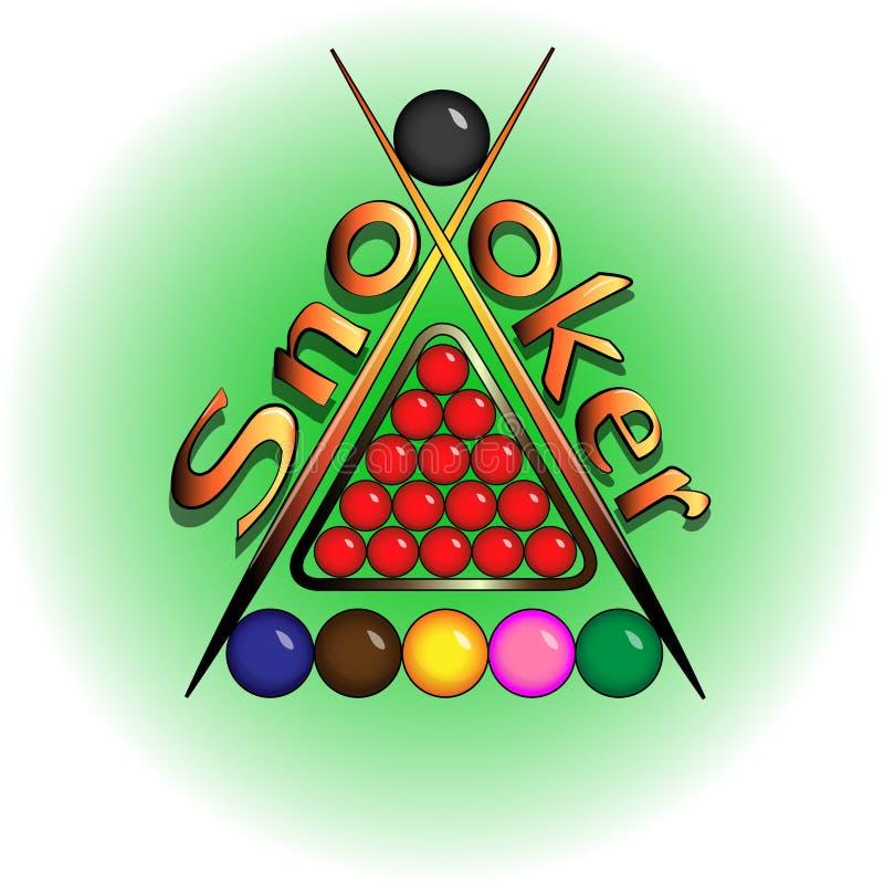 De ballen voor snooker zijn op groen lijstembleem vector illustratie
