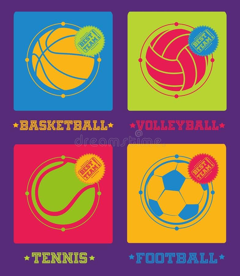De ballenpictogrammen van sporten Voetbal, basketbal, volleyball, tennis stock illustratie