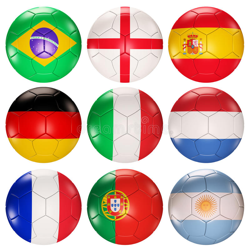 De ballenvlaggen van het voetbal van bovenkant gerangschikte 3d landen vector illustratie