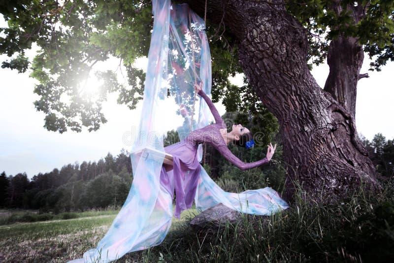 De ballerina slingert op de bomen van de oude eik stock afbeelding