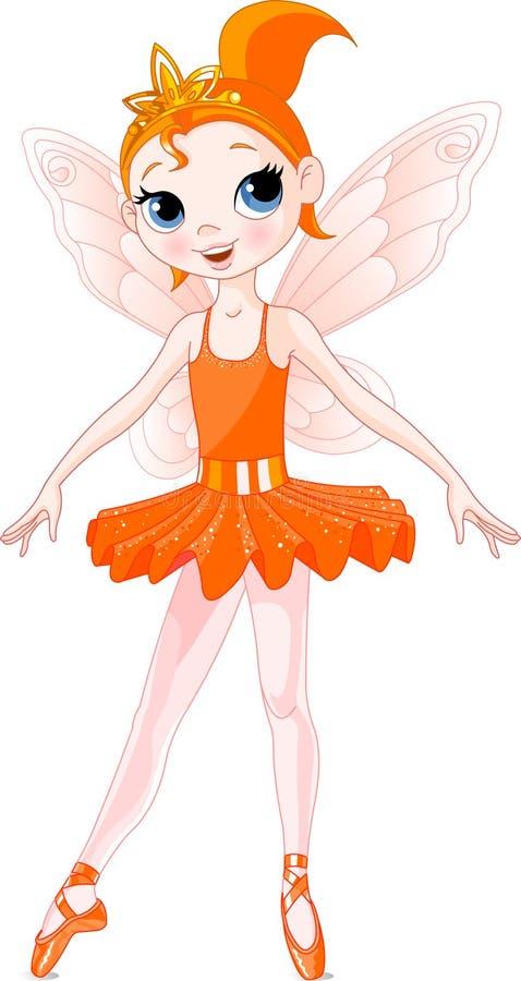 (De ballerina'sreeks van de Regenboog). Oranje Ballerina stock illustratie