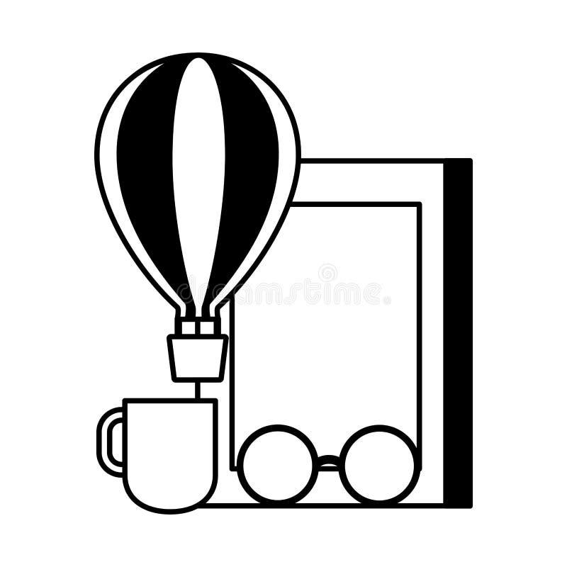 De ballon van de de dag hete lucht van het wereldboek vector illustratie