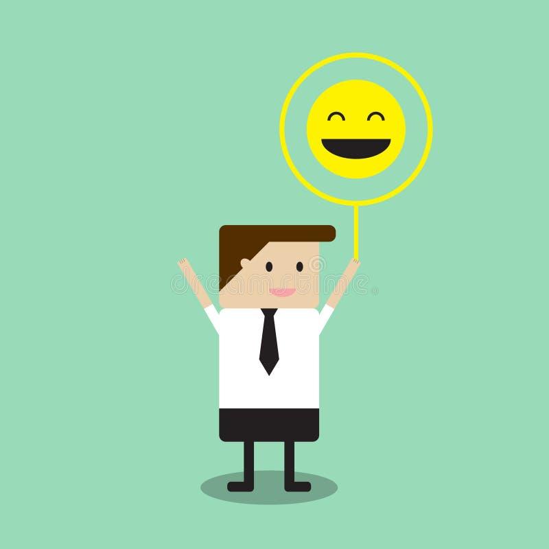De ballon van het de glimlachteken van de zakenmanholding royalty-vrije stock afbeeldingen