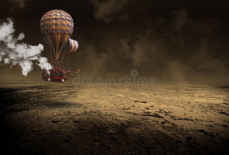 De Ballon van de Steampunk Hete Lucht, Surreal Luchtschip, Wijnoogst stock afbeelding