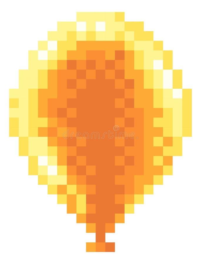 De Ballonpictogram met 8 bits van Arcade Video Game Pixel Art vector illustratie