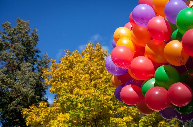 De ballons in de herfst parkeren geel in de herfst royalty-vrije stock afbeeldingen