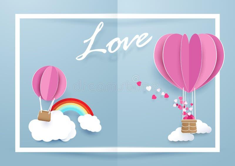 De ballons die van de hartvorm over wolken en regenboog op witte kaderachtergrond vliegen vector illustratie
