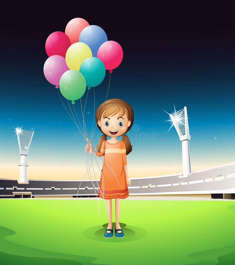 De ballons die van een meisjesholding zich in het midden van het hof bevinden stock illustratie
