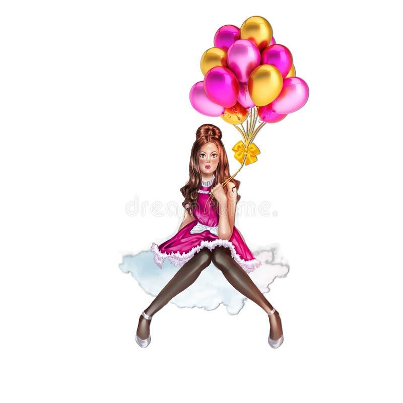De ballons die van de meisjesholding op een wolk zitten - onderwerp royalty-vrije illustratie