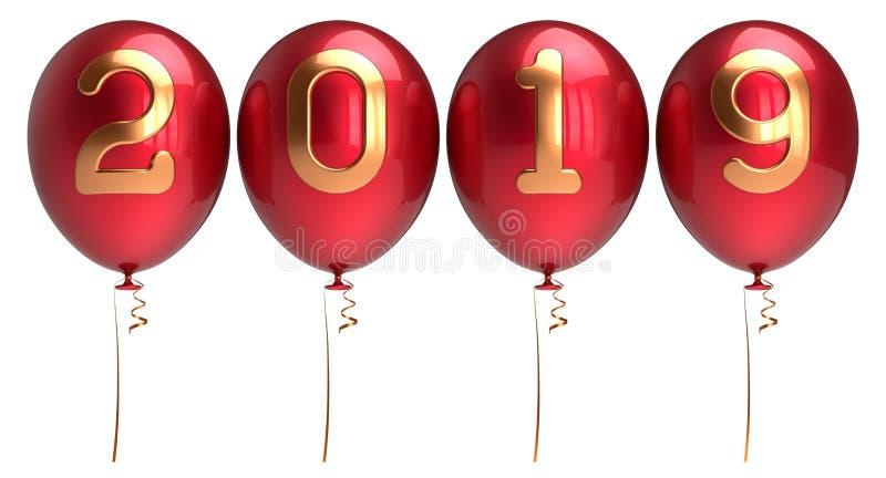 De ballons 2019 rij geschikte rode gouden glanzend van de nieuwjarenvooravond stock illustratie