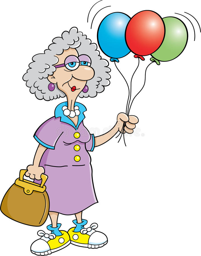 De ballons van de de dameholding van de bejaarde vector illustratie