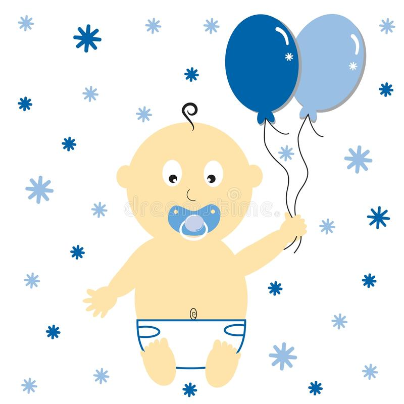 De Ballons van de Jongen van de baby royalty-vrije illustratie