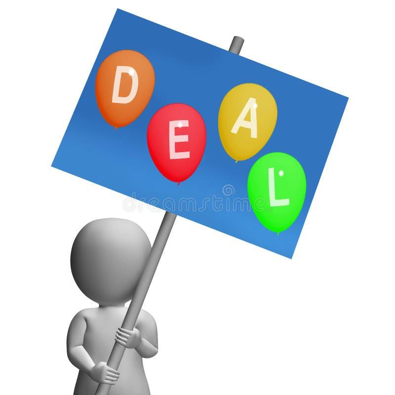 De Ballons van de tekenovereenkomst vertegenwoordigen de Koopjes van de Kortingenverkoop en Heet DE vector illustratie