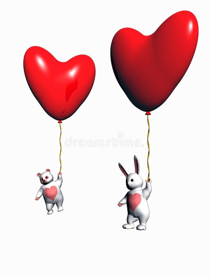 De ballons van de valentijnskaart, konijntje en dragen, vakantieliefde. vector illustratie