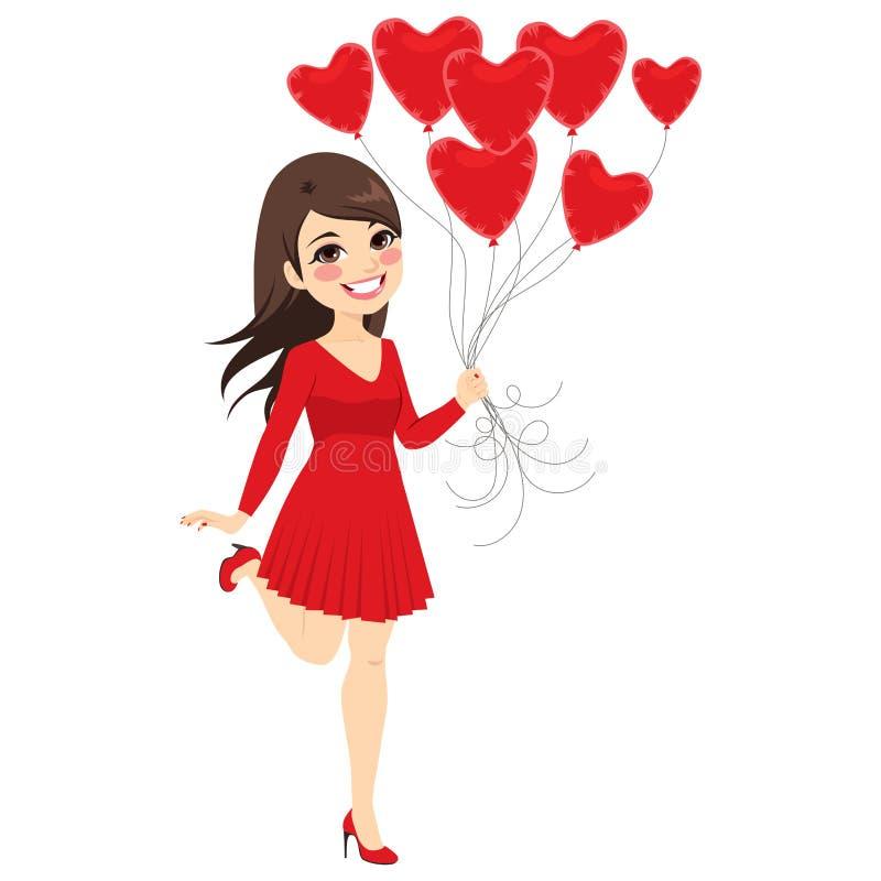 De Ballons van het meisjeshart stock illustratie
