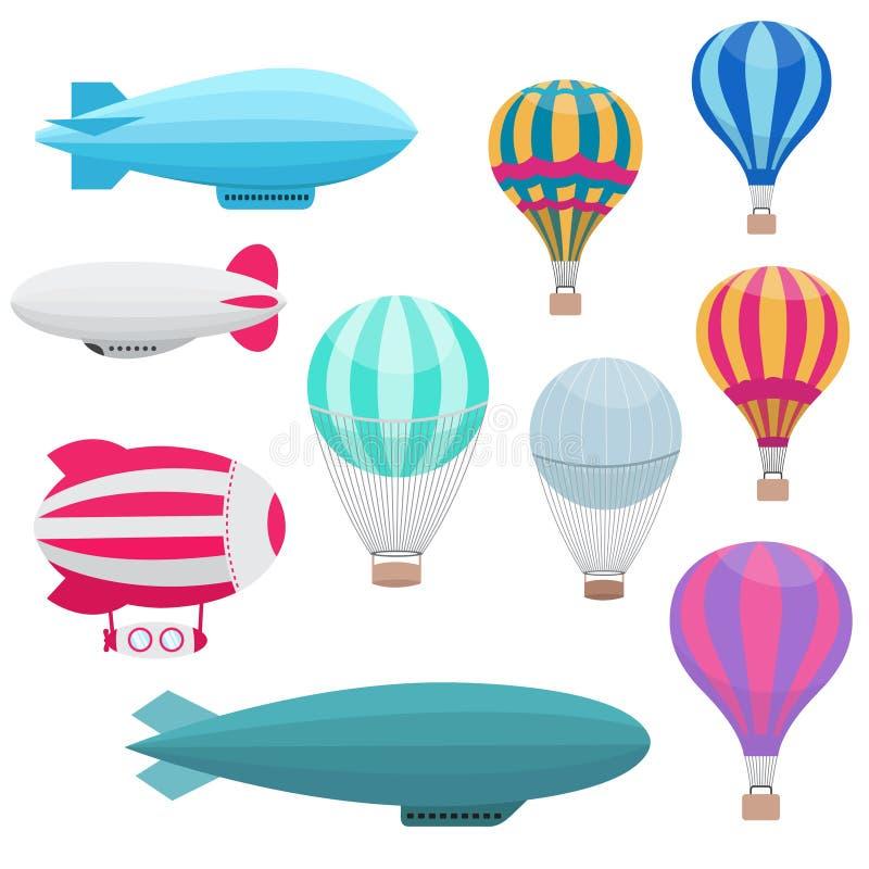 De ballons vectorreeks van de beeldverhaal hete lucht stock illustratie