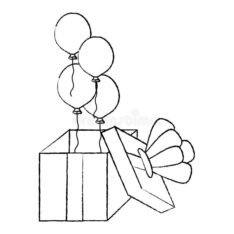 De ballonsstijl van Grunge open huidige girf royalty-vrije illustratie