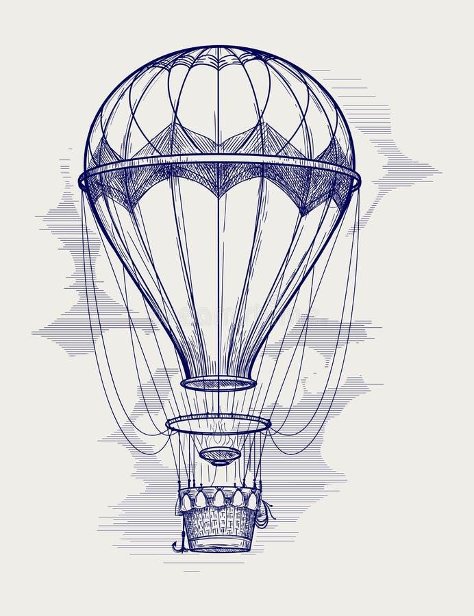 De ballpointschets van de hete luchtballon stock illustratie