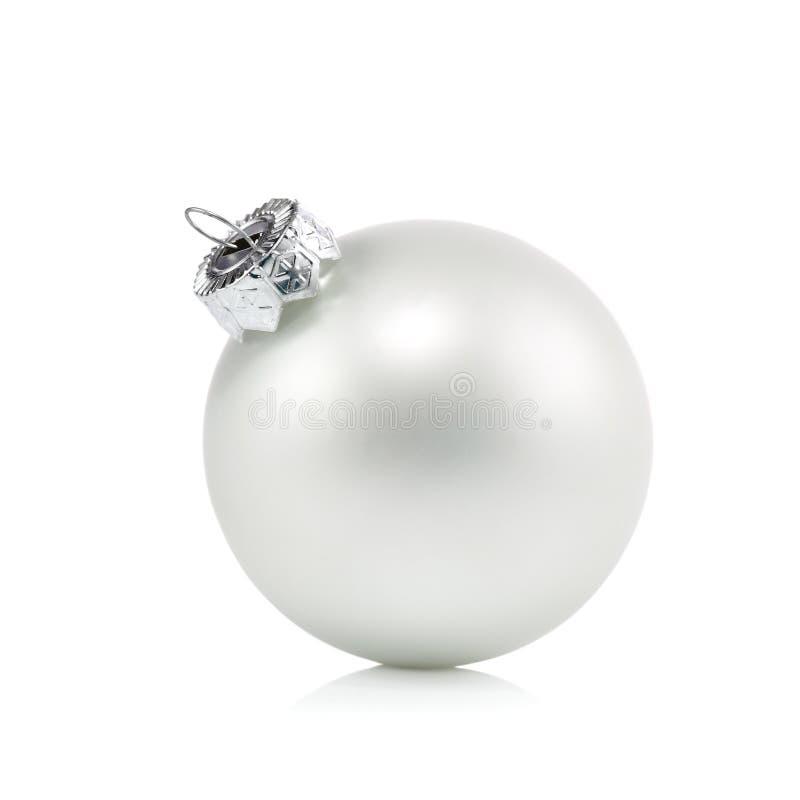 De balornament van parel wit Kerstmis stock fotografie