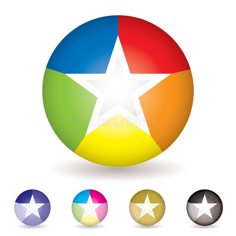 De balpictogram van de regenboog stock illustratie
