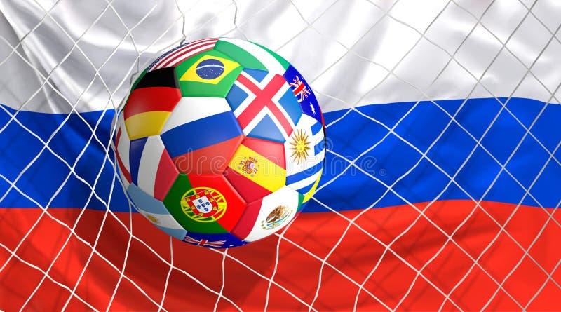 De balvoetbal van de voetbalvoetbal op doel 3d illustratie die wordt geschoten royalty-vrije illustratie