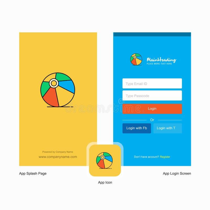 De balwelkomstscherm van het bedrijfsalvo en Login Paginaontwerp met Embleemmalplaatje Mobiel Online Bedrijfsmalplaatje stock illustratie