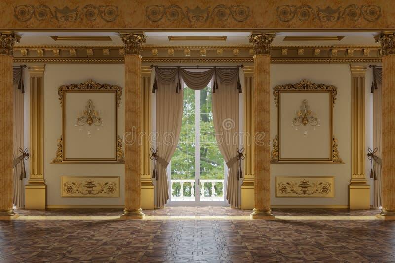De balzaal en het restaurant in klassieke stijl stock afbeelding