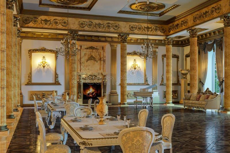 De balzaal en het restaurant in klassieke stijl 3d geef terug royalty-vrije stock foto's
