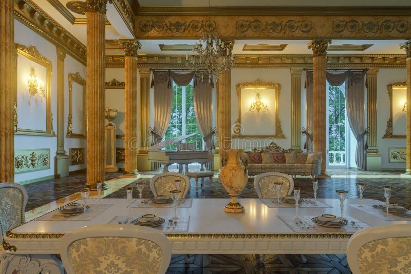 De balzaal en het restaurant in klassieke stijl 3d geef terug vector illustratie