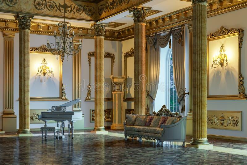 De balzaal en het restaurant in klassieke stijl 3d geef terug royalty-vrije illustratie