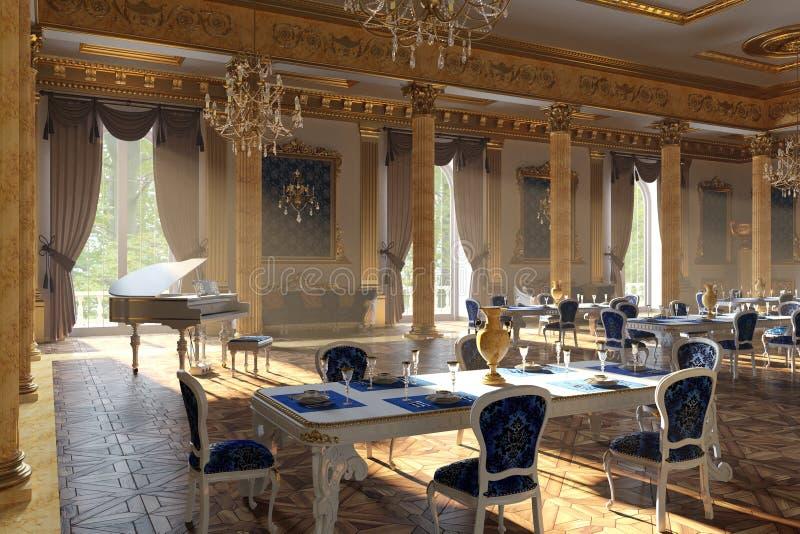 De balzaal en het restaurant in klassieke stijl 3d geef terug stock fotografie