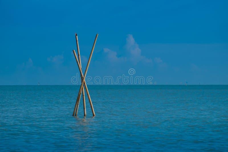 De bamboeprik in het overzees is één van de hulpmiddelen in visserij stock afbeeldingen