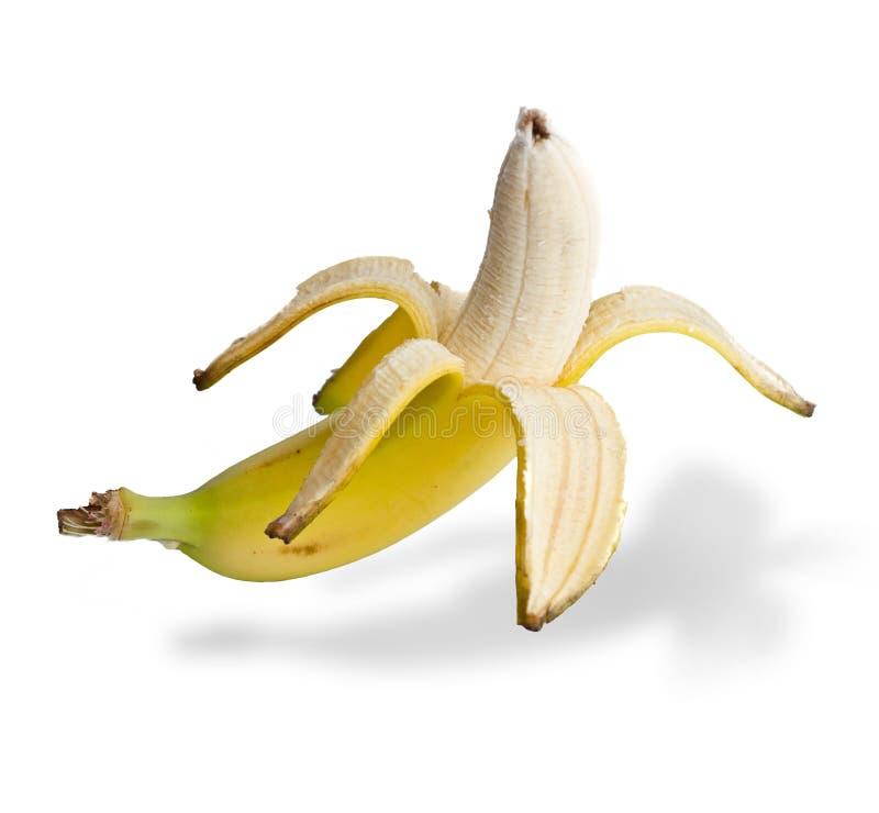De banaan die van een schil wordt ontruimd royalty-vrije stock fotografie