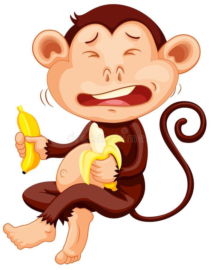 De banaan van de aapholding het schreeuwen royalty-vrije illustratie