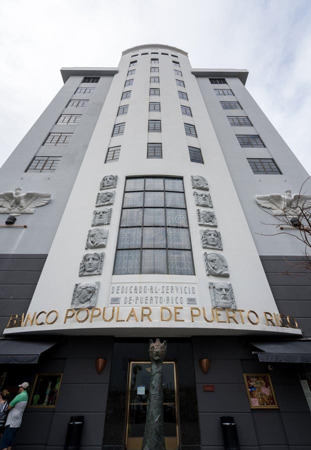 De banco Populaire ingang van DE Puerto Rico in San Juan royalty-vrije stock afbeeldingen