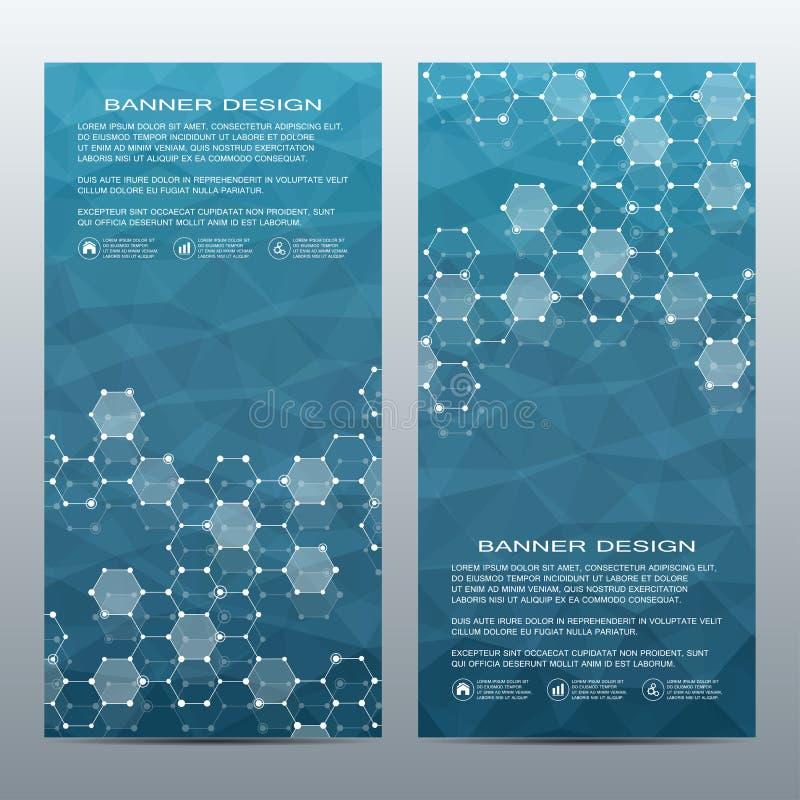 2 de banderas científicas verticales modernas Estructura molecular de la DNA y de las neuronas Fondo abstracto geométrico medicin stock de ilustración