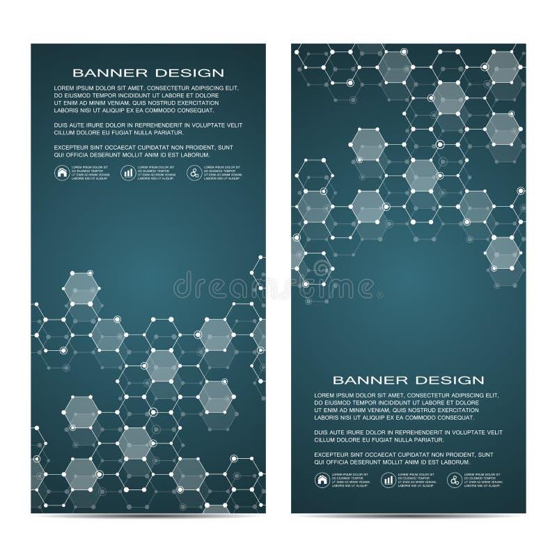2 de banderas científicas verticales modernas Estructura molecular de la DNA y de las neuronas Fondo abstracto geométrico medicin ilustración del vector