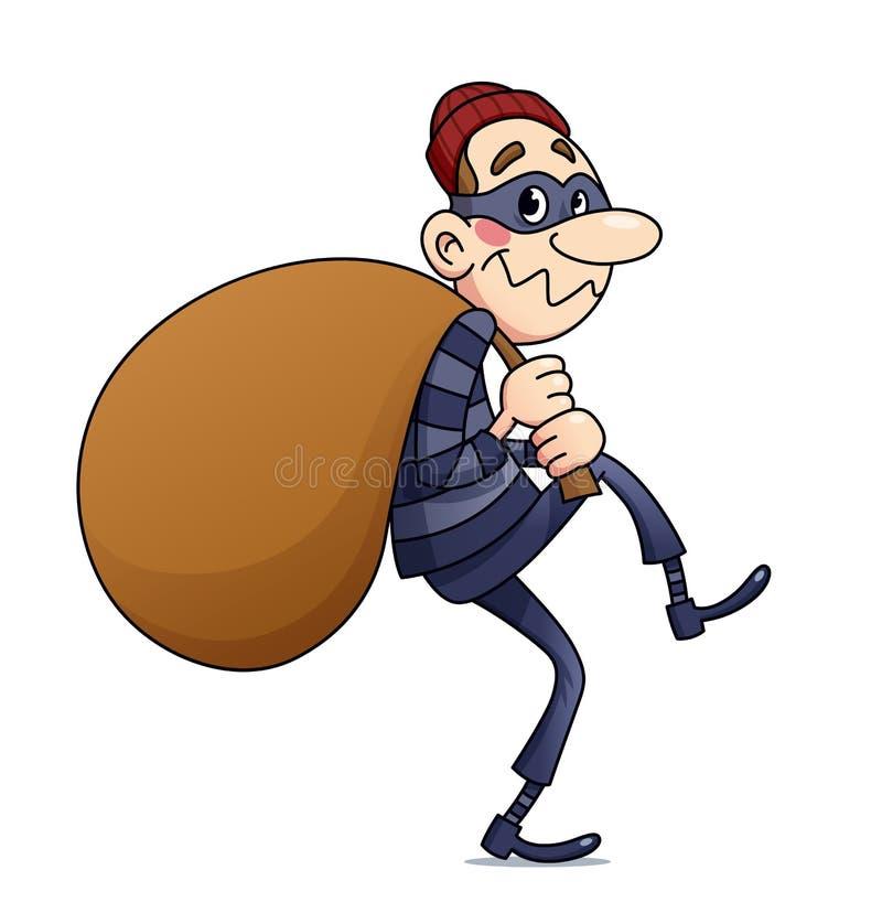 De bandiet draagt zak met geld Vector illustratie stock illustratie