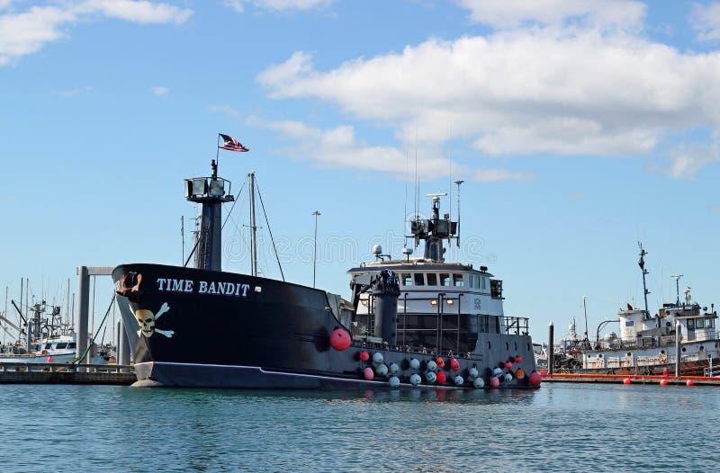 De Bandiet van de tijd bij haven in Homerus, Alaska stock afbeelding