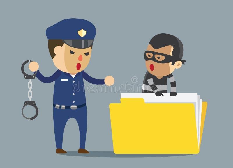 De bandiet van de veiligheidsagentarrestatie met handcuff die diefstal bedrijfsgegevens vector illustratie