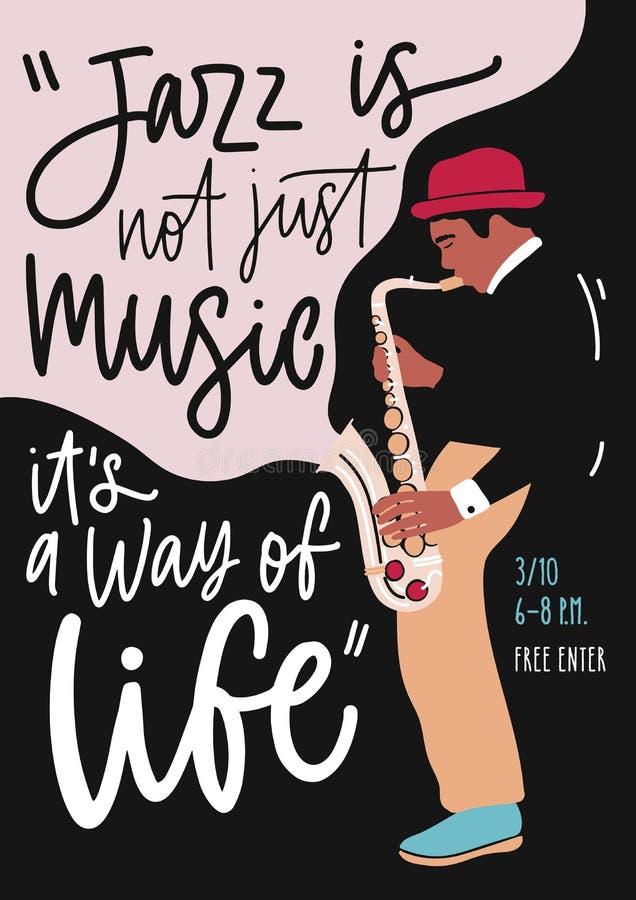 De bandprestaties van de jazzmuziek, overleg of de vliegermalplaatje van de festivalreclame met musicus het spelen saxofoon affic royalty-vrije illustratie