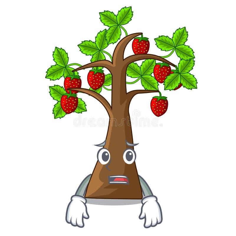 De bange bomen van de beeldverhaalaardbei groeien op grond royalty-vrije illustratie