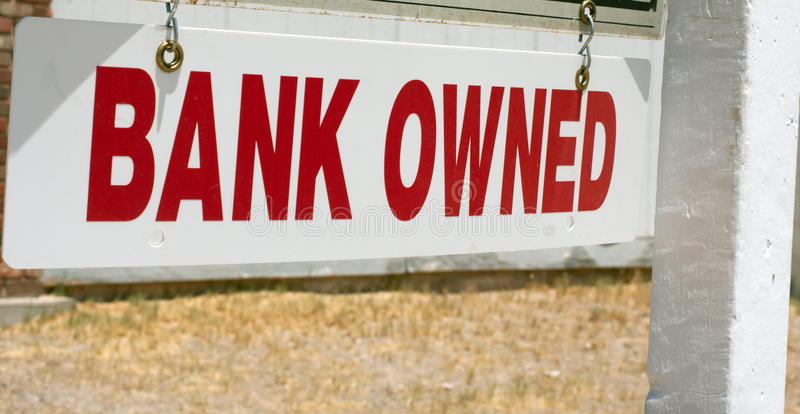 De bank bezat onroerende goederenteken stock foto's