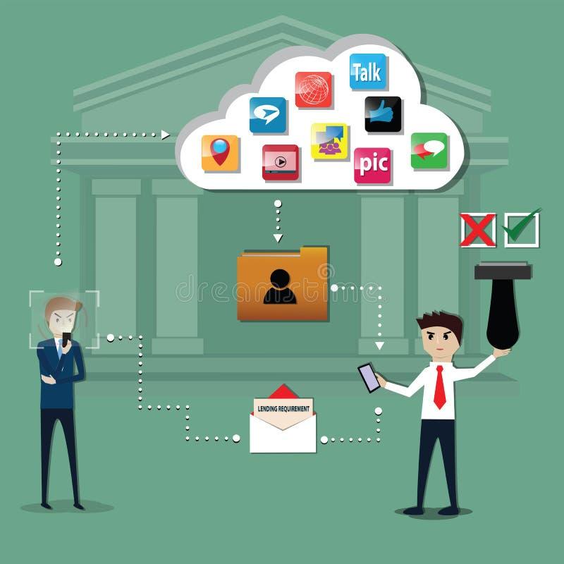 De bank gebruikte gegevens van sociaal netwerk voor geanalyseerd vereiste om te lenen - vector stock illustratie